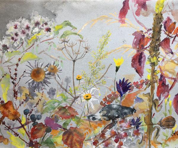 Wild Flowers, watercolour, fresh air painting