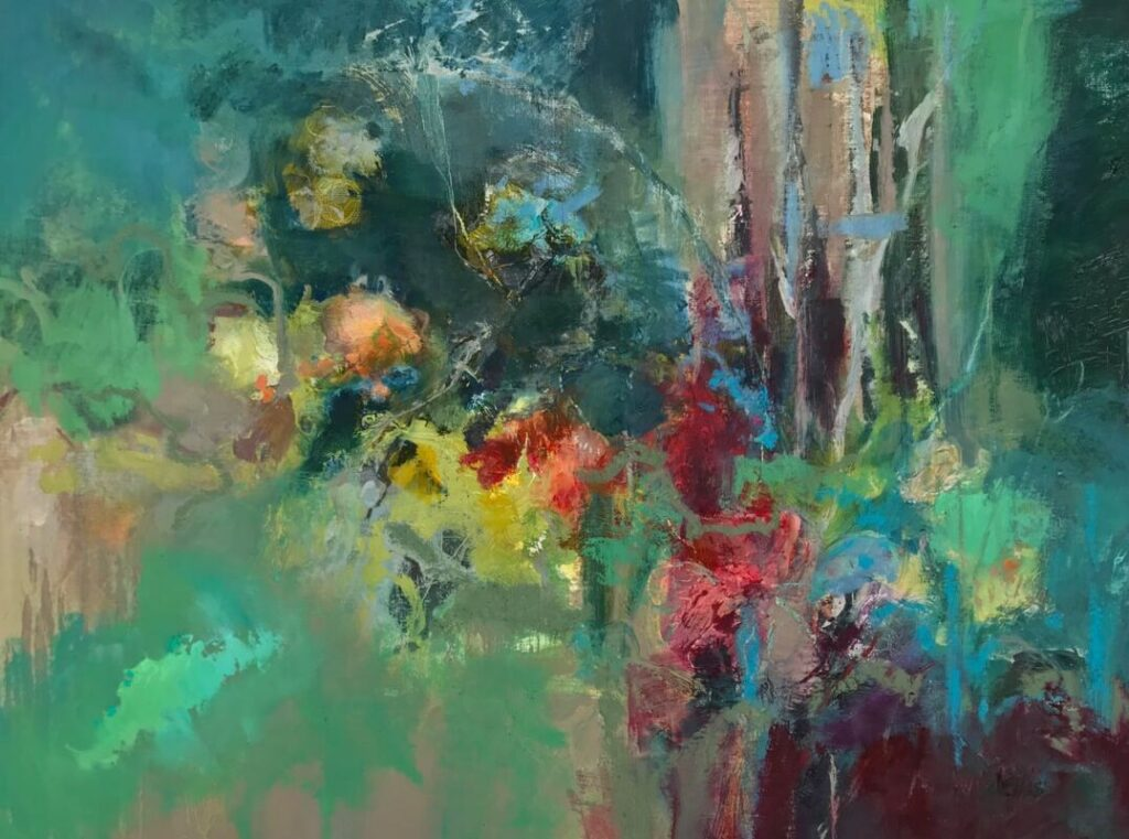 Expressive colourful oil paintings, flowers and garden paintings, contemporary flower art,